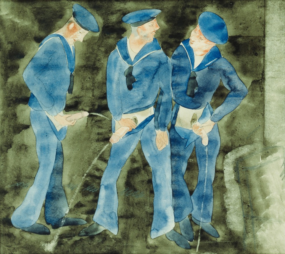 Three Sailors,  (watercolour and pencil on paper)