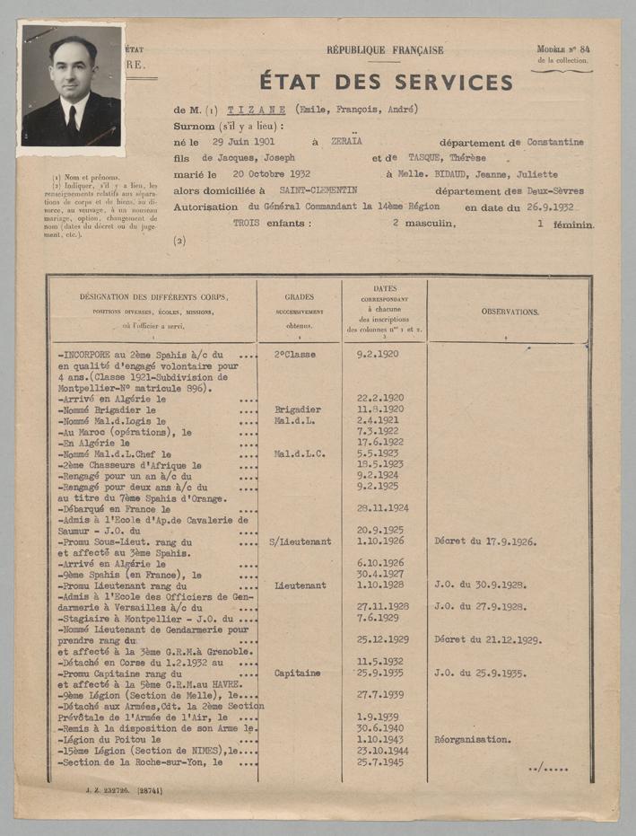 Dossier  8YE 139140 TIZANE (état des services )