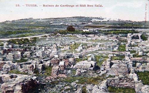 Tunis - Ruines de Carthage et Sidi Bou Saïd - Carte postale ancienne Tunisie