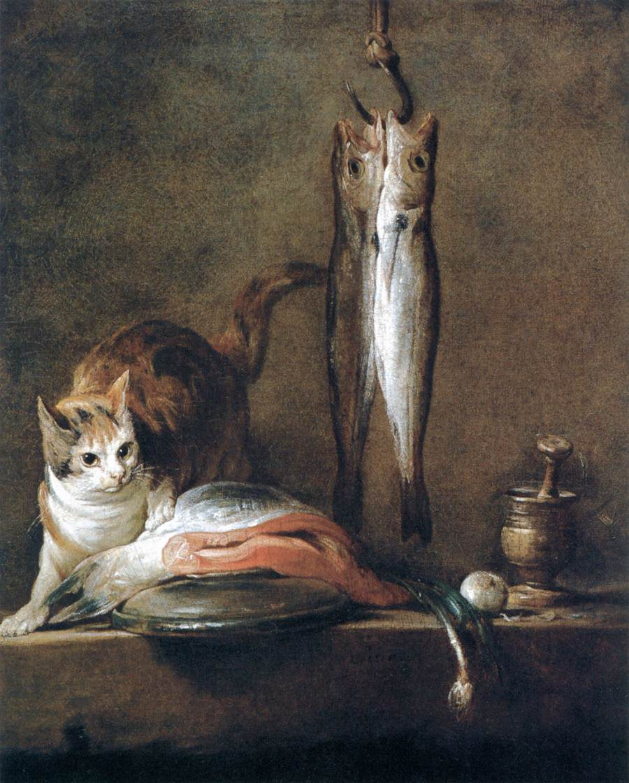 chardin - Still-Life with Cat and Fish. 1728. Oil on canvas. 79 x 63 cm. Museo Thyssen-Bornemisza, Madrid, Spain