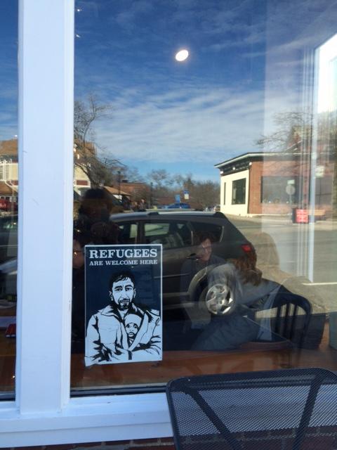 Un café à Amherst, avec reflets