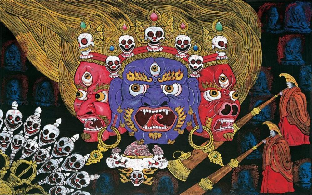 Tibétain-Tebet-Xiangba-gravure-sur-bois-peinture-murale-fresque-murale-l-enfer-moine-Décoration-Toile-Affiche