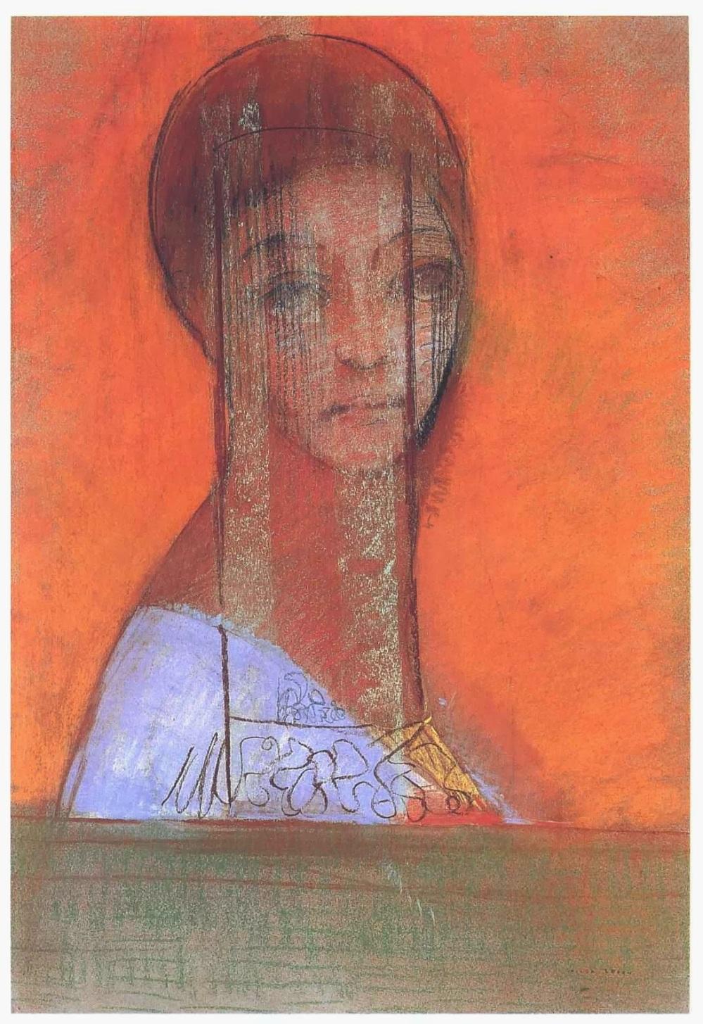 Redon Odilon - Femme avec un voile - 1895