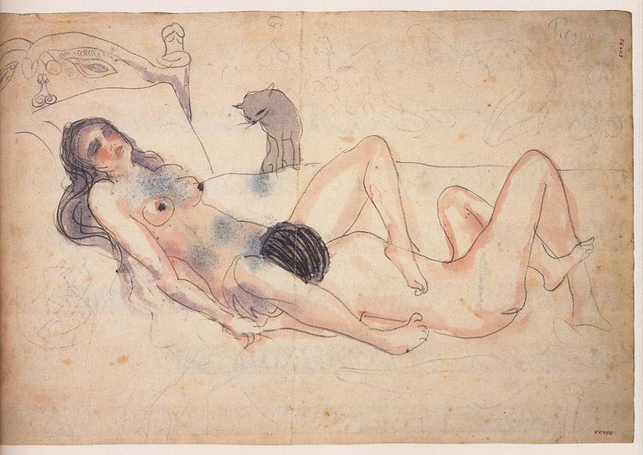 Pablo Picasso, Deux nus avec un chat,1902-1903, Picasso Museu, Barcelone