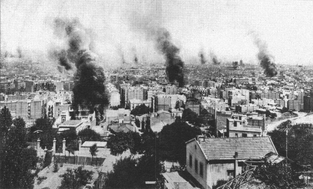Vue de Barcelone en flammes le 28 juillet 1909,photo de Castellà