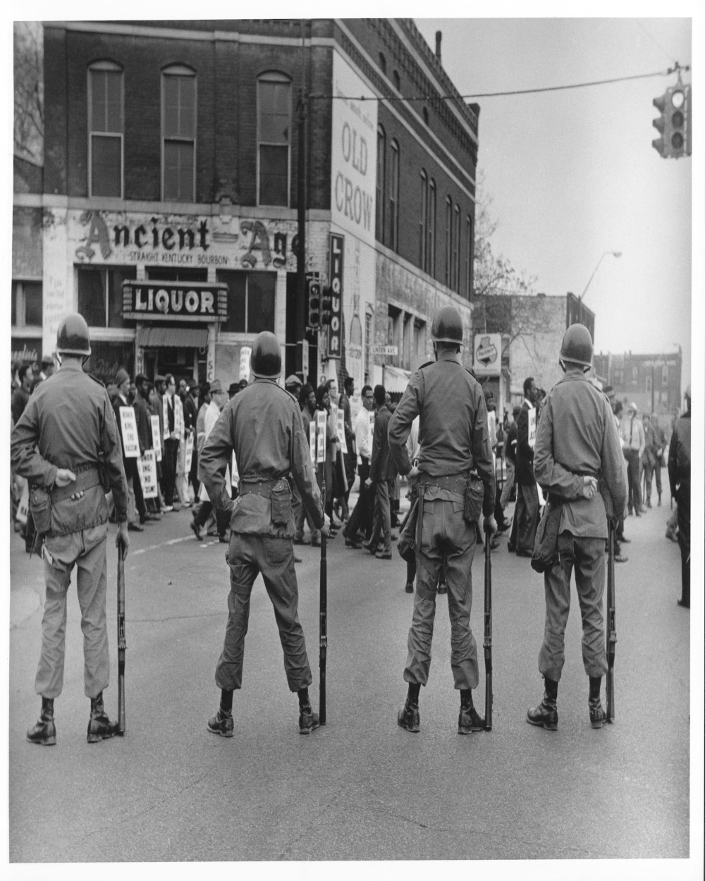 National Guard at Main and Linden Street after the assassination of Dr. King, Ernest Withers