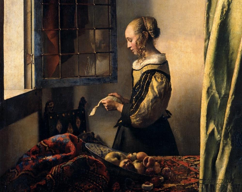 Johannes VERMEER -  jeune fille lisant une lettre pres de la fenetre ouverte (detail)