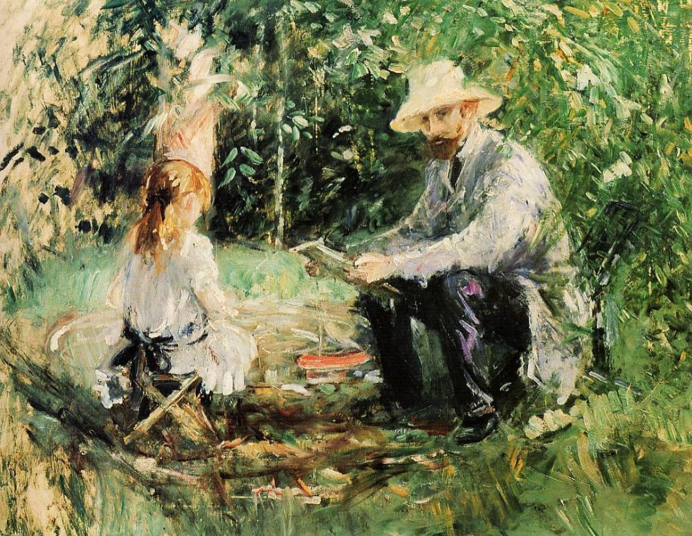 berthe-morisot.-eugene-manet-et-sa-fille-au-jardin-1883-
