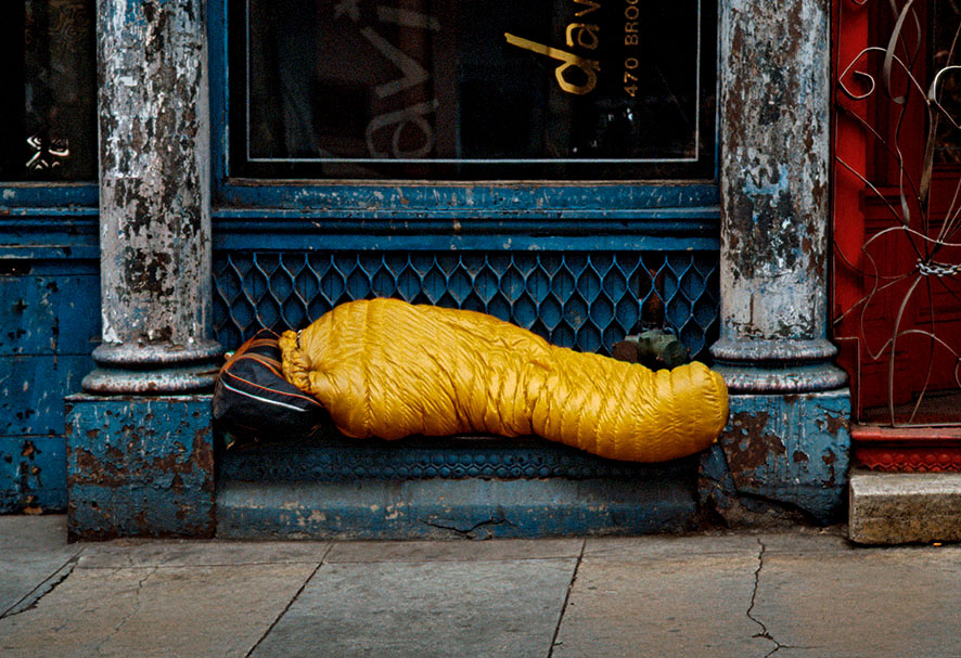 #65_1984, NY USA, Tribeca, homeless person in yellow sleeping bag 2