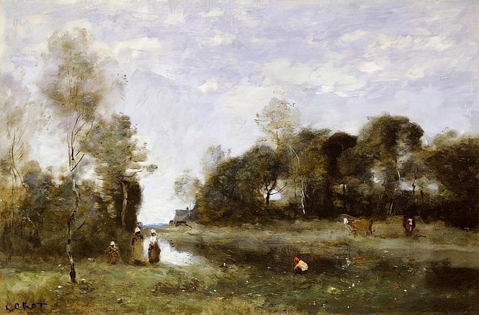 Jean Baptiste Camille Corot - Souvenir of the Bresle at Incheville - (MeisterDrucke-262371)