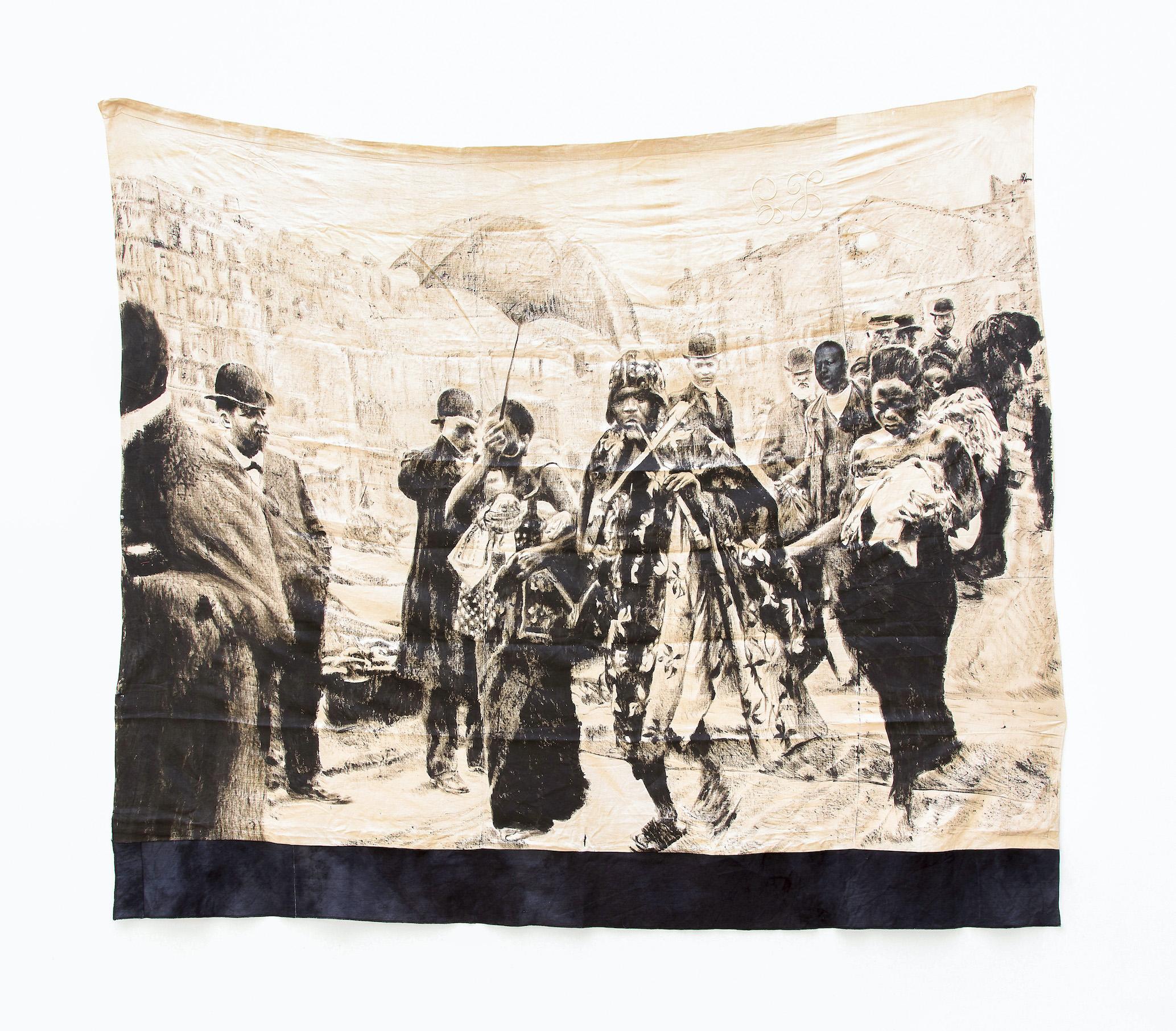 ROMÉO MIVEKANNIN, Série Béhanzin, Avant le dernier exil en Algérie, escale à Marseille, 2021, Bains d'élixir, pigments et liants sur toile libre, 227 x 261 cm, courtesy galerie Eric Dupont,