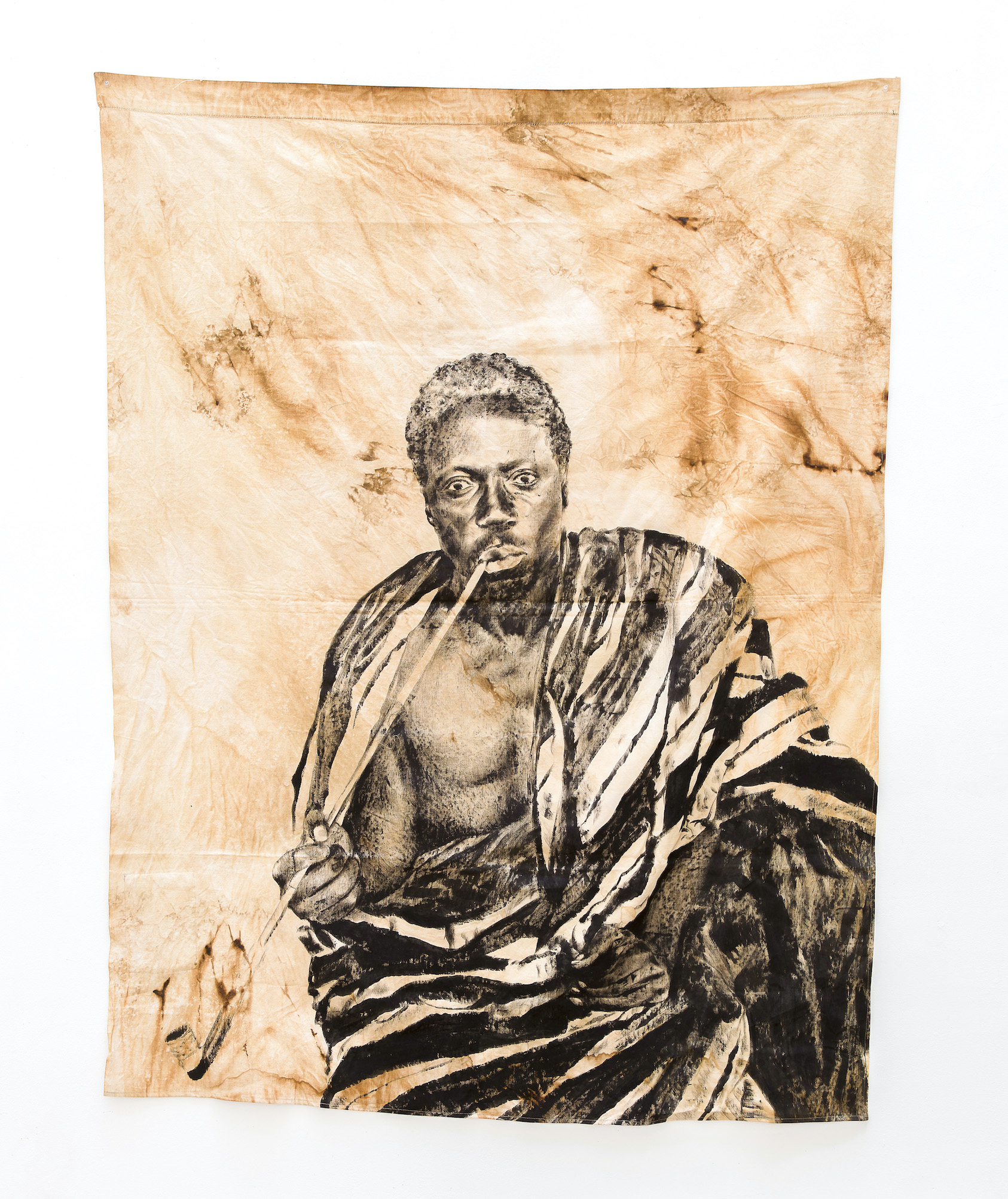 ROMÉO MIVEKANNIN, Série Béhanzin, Portrait du roi lors de l'escale à Dakar, avant l'exil en Martinique, 2021, Bains d'élixir, pigments et liants sur toile libre, 170 x 131 cm, courtesy g
